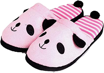 FAY WATERS Womens Comfort Lovely Panda Warm Slippers Short Plush Lining Slip-on House Shoes for Indoor Use