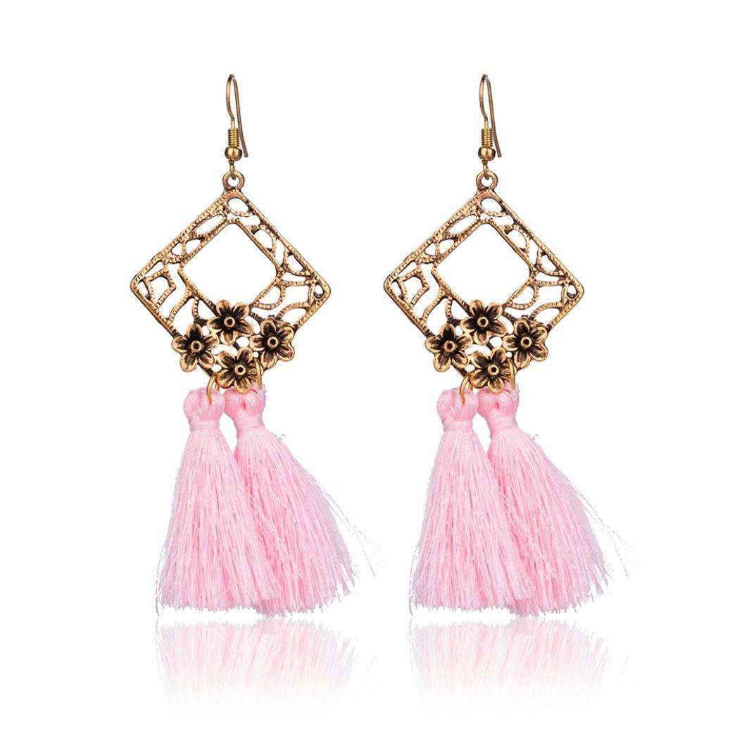 BSGSH Women Vintage Earring Hollow Flower Tassel Dangle Drop Earrings Ethnic Jewelry (Pink)