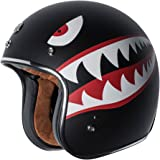 TORC T50 Route 66 3/4 Helmet with 'Flying Tiger' Graphic (Flat Black, Large)