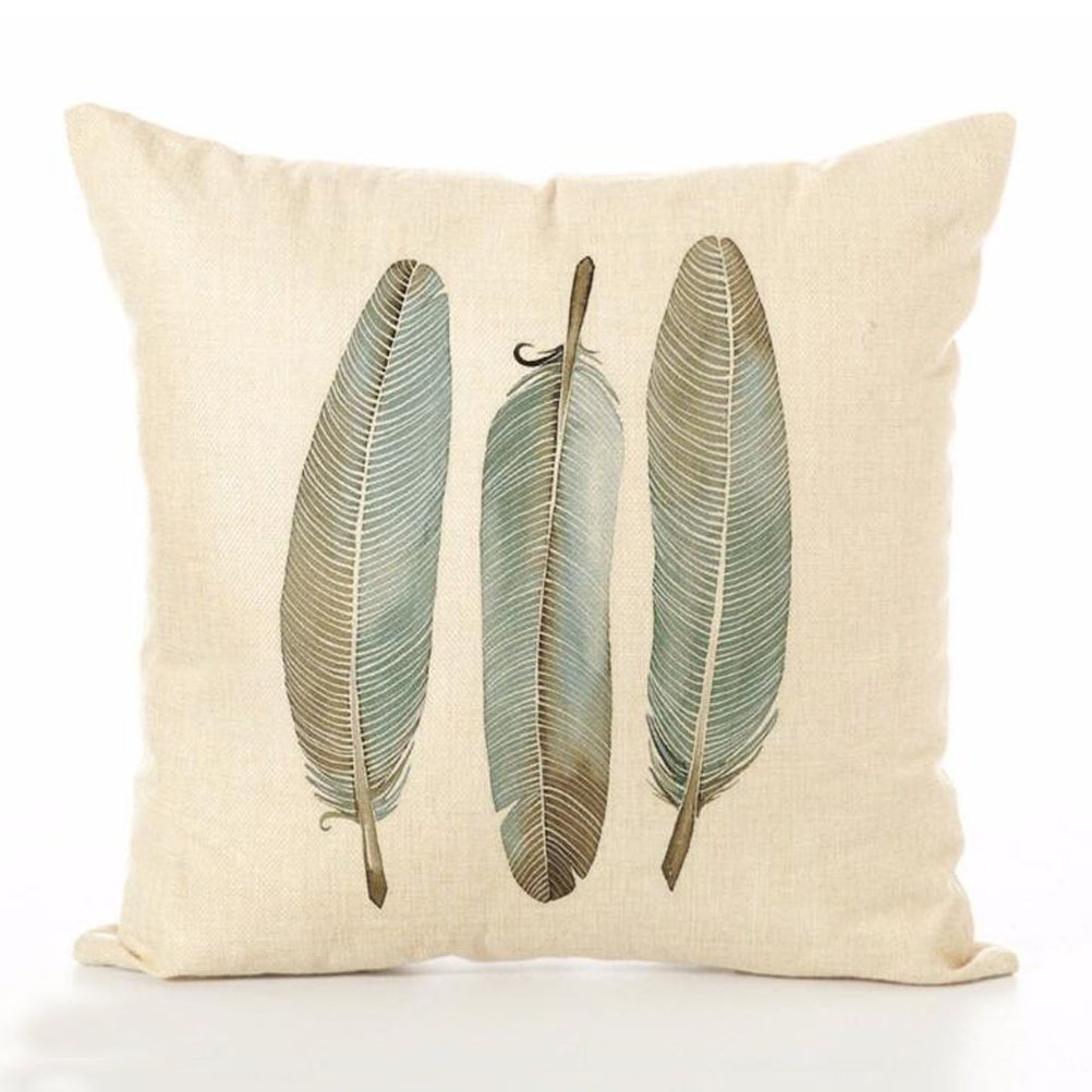 Cotton Linen Throw Pillow Case U-LOVE Feathers Print Square Cushion Cover 18 X 18 Inch Pillow ,4 pack by U-LOVE (Image #2)