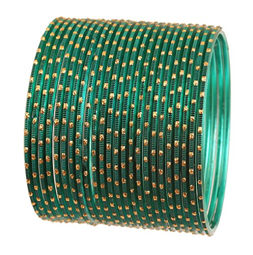 Touchstone New Colorful 2 Dozen Bangle Collection Indian Bollywood Alloy Metal Textured Teal Green Designer Jewelry Special Large Size Bangle Bracelets Set of 24 in Antique Gold Tone for Women