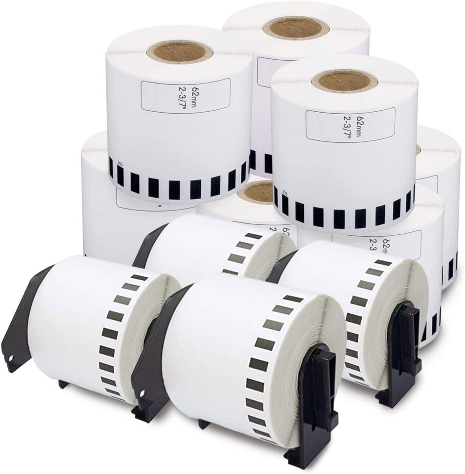 enKo - Compatible DK-2205 Continuous Paper Labels (2.4 Inch x 100 Feet) Compatible for Brother QL Label Printers - 12 Rolls + 4 Refillable Cartridges