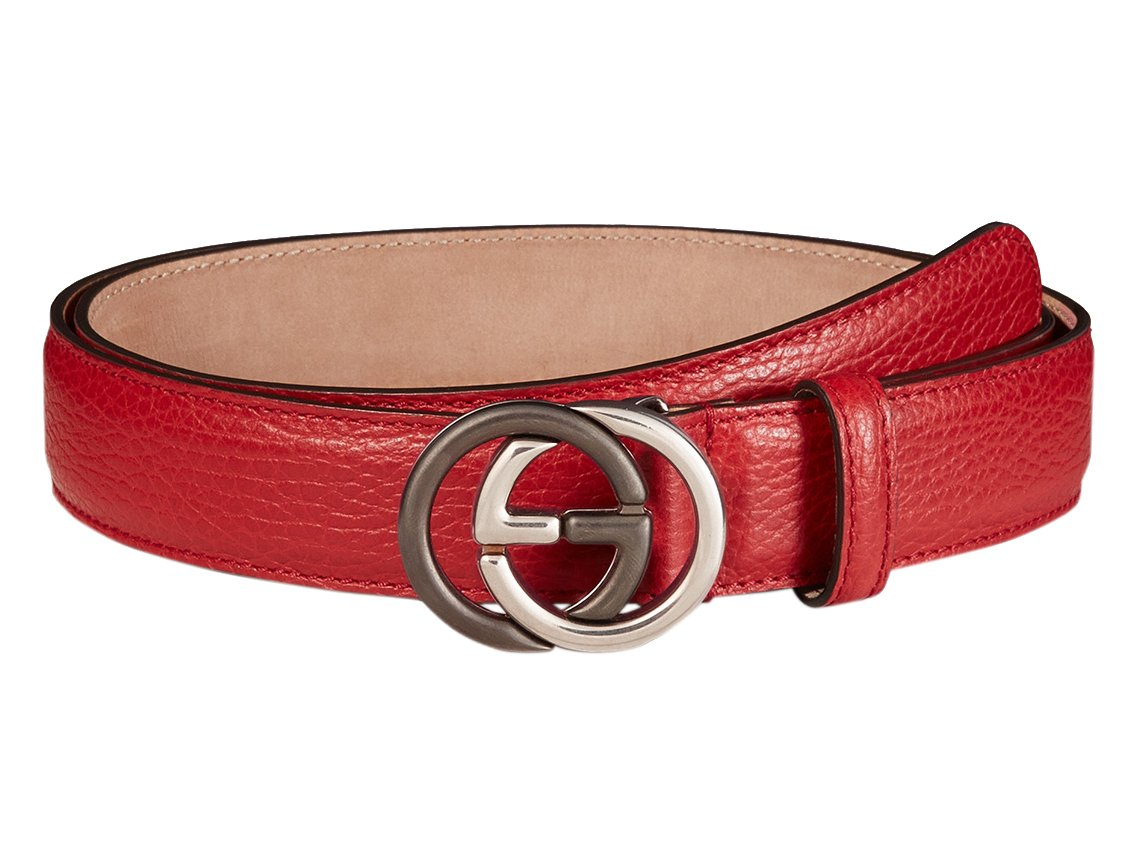 Gucci Red Leather Contrast Interlocking GG Buckle Belt, 40, Red
