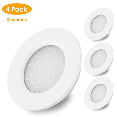 B-right RV LED Lights Interior, 12V RV Ceiling Light Dimmable, Under Cabinet Lighting, Ultra-Thin Recessed RV Interior Lighting Waterproof for Car/RV/Trailer/Camper/Boat (Warm White,4 Pack): Automotive