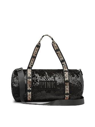34ad7bfd63bfb Victoria's Secret PINK NEW! VARSITY VELVET MINI DUFFLE, Black