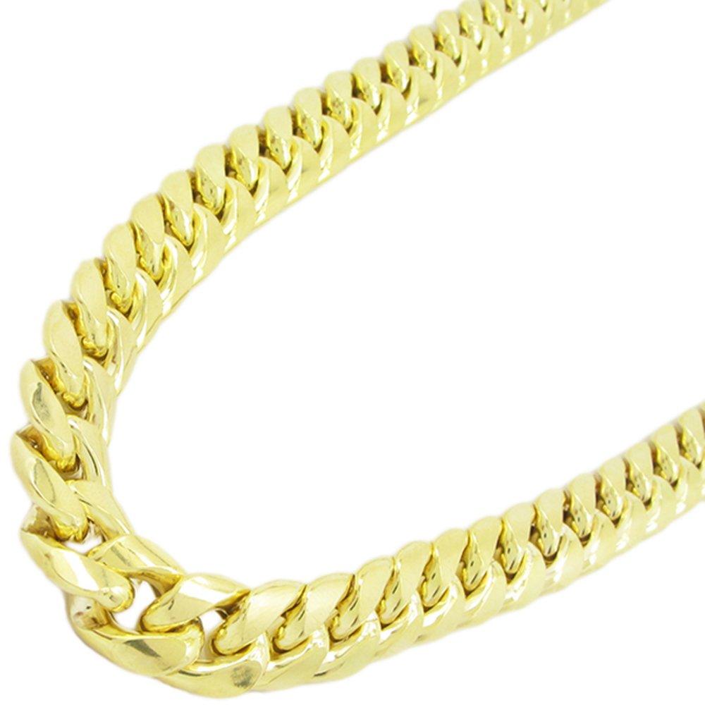 Mens 10k Yellow gold Yellow gold miami cuban hollow link chain 32'' 11MM rjmch1