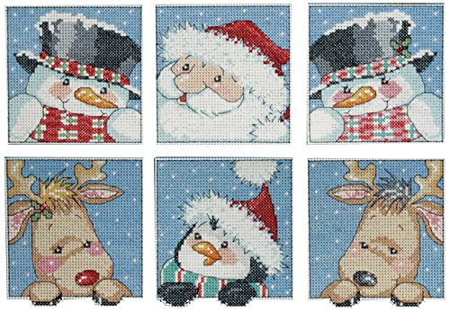 Canvas Ornaments Plastic (Design Works Crafts Funny Friend Squares, 3 x 3-1/2