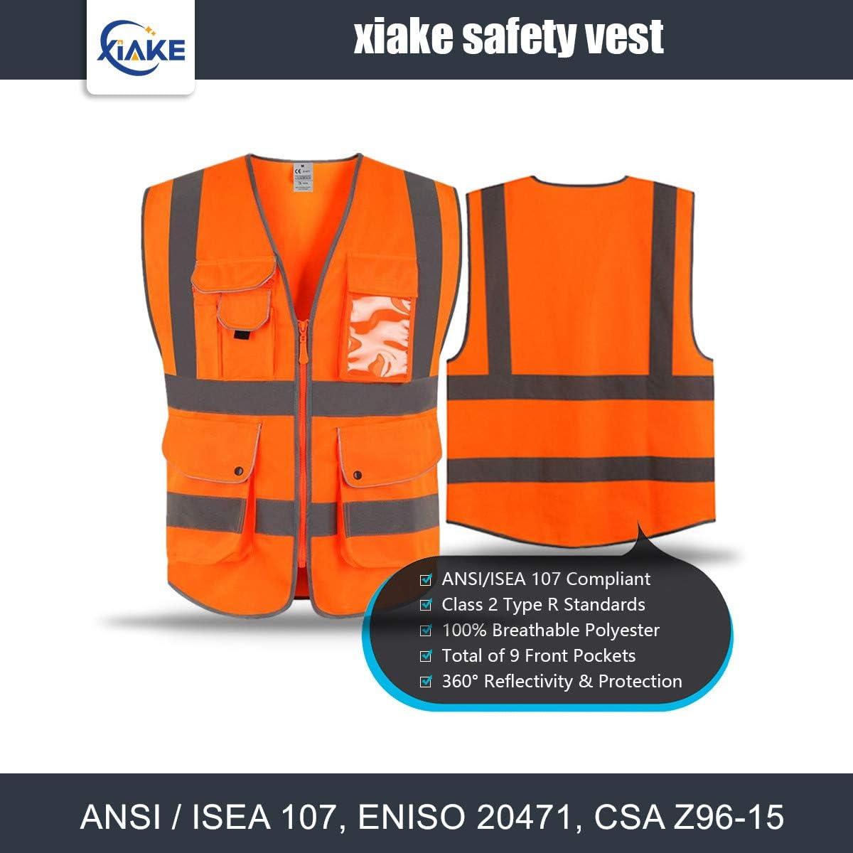 Gilet di sicurezza catarifrangente XIAKE giallo classe 2 con 9 tasche e cerniera frontale standard ANSI//ISEA