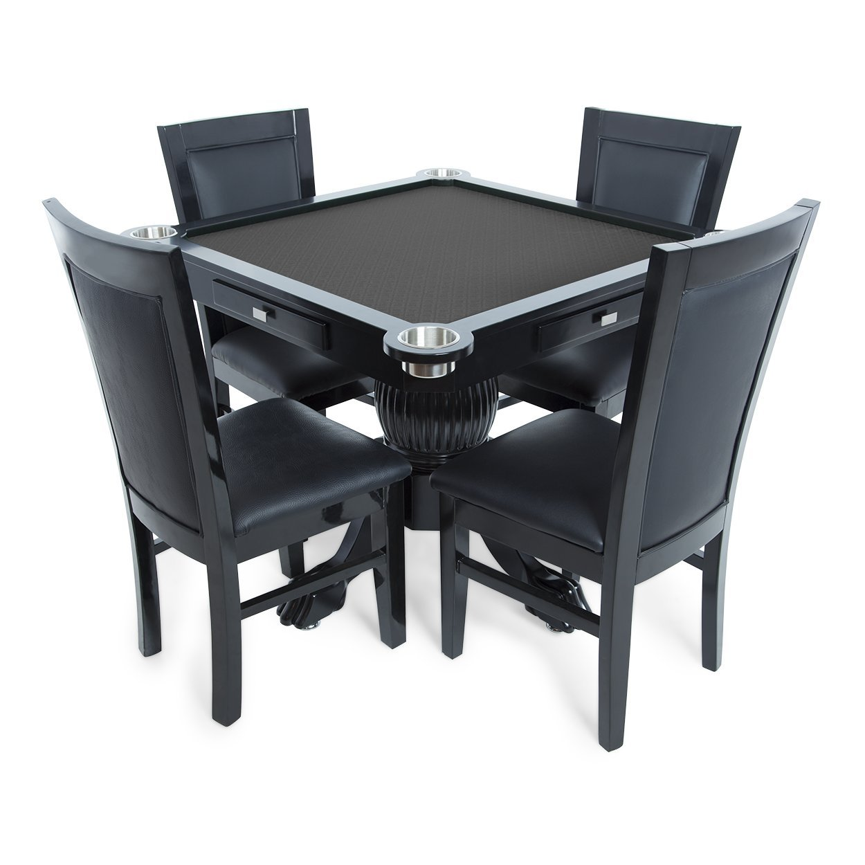 BBO Poker Levity Game and Poker Table for 4 Players with Black Speed Cloth Playing Surface, 40.5-Inch Square, Includes 4 Dining Chairs