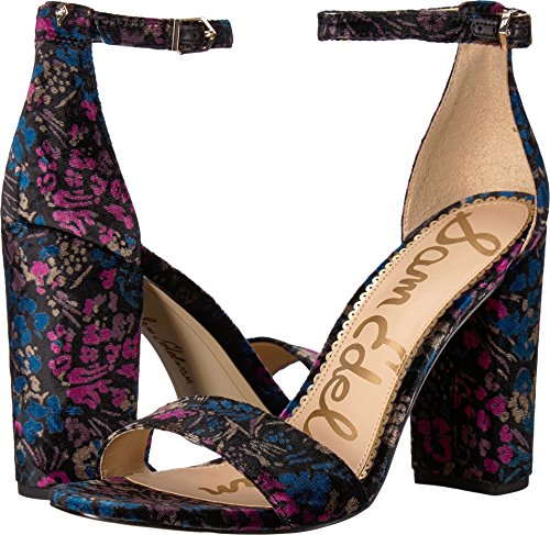 Sam Edelman Women's Yaro Heeled Sandal, Black/Multi Basilica Floral Velvet, 8.5 W US