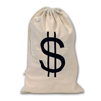 Large Dollar Sign Canvas Drawstring Money Bag