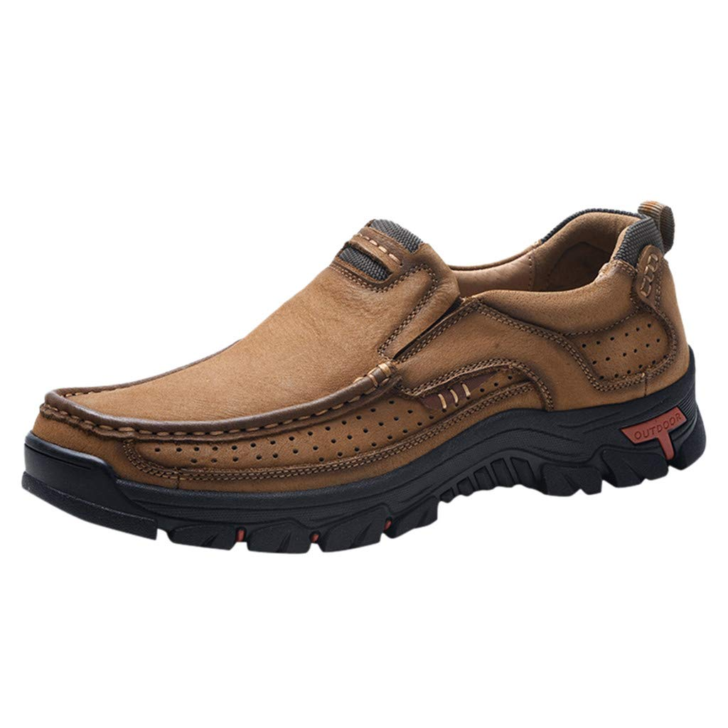 Men's Premium Leather Casual Breathable Hiking Shoes Comfortable Moccasins Hiking Walking Flat Shoes Khaki by Lowprofile Men Shoes