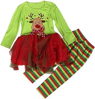 AMA(TM) Christmas Baby Girls Long Sleeve Tutu Dress+Pants Outfits Set