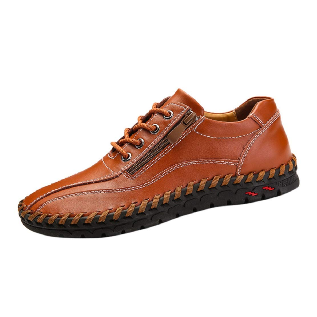 Men's Fashion Stitched Leather Sneakers Driving Oxford Slip On Loafers Side Zipper Comfort Walking Shoes by Lowprofile Brown