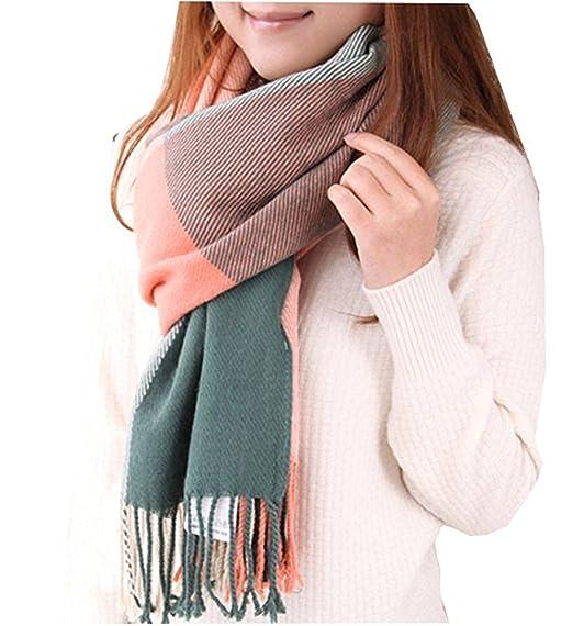 cabddabdf85 Loritta Womens Fashion Long Plaid Shawl Big Grid Winter Warm Lattice ...