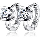 TraveT Women 925 Sterling Silver Earrings Fashion Small Women Fine Jewelry Angel Kiss Luxury Crystal Earrings