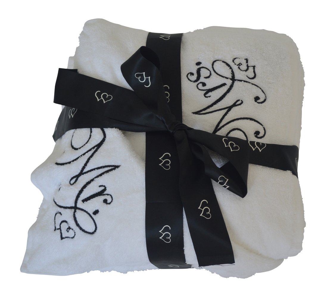 Luxury Mr. and Mrs. Embroidered Oversize White Beach Towel Gift Set