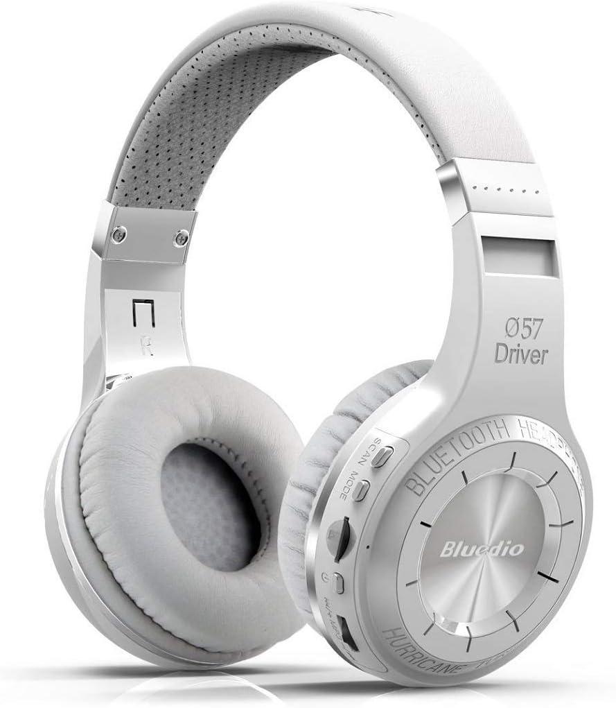 Bluedio H+ Auriculares inalámbrico estéreo Bluetooth4.1 con mp3 y Radio(Blanco)