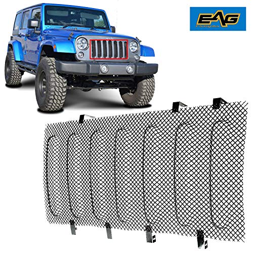 EAG 07-18 Jeep Wrangler JK Wire Mesh Grille Bug Screen (Stainless Steel) (Chrome Fine Mesh Grille)