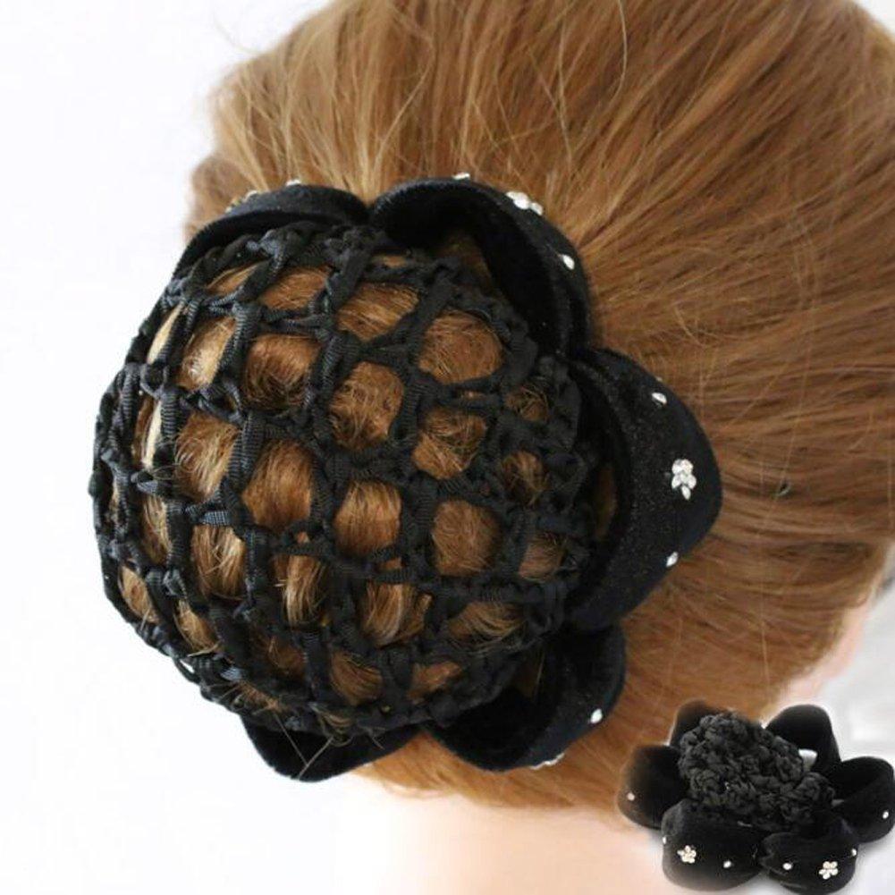 1PCS Black Women Bun Cover Snood Ballet Dance Polka Dot Hair Net hair Accessories erioctry