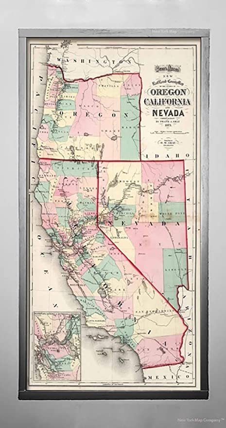 Map Of California To Oregon.Amazon Com Map Railroad And County Of Oregon California And
