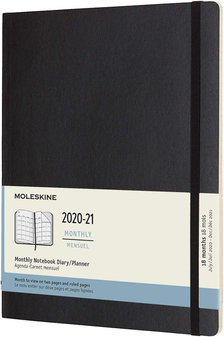 Moleskine - Agenda Mensual de 18 Meses, Agenda 2020/2021, Agenda Mensual con Tapa Blanda y Cierre Elástico, Tamaño XL 19 x 25 cm, Color Negro, 128 Páginas