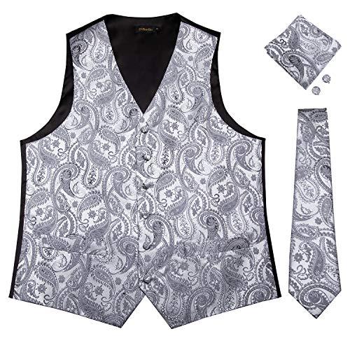 (DiBanGu Men's Paisley Waistcoat and Necktie Pocket Square Cufflink Silver Vest Suit Set )