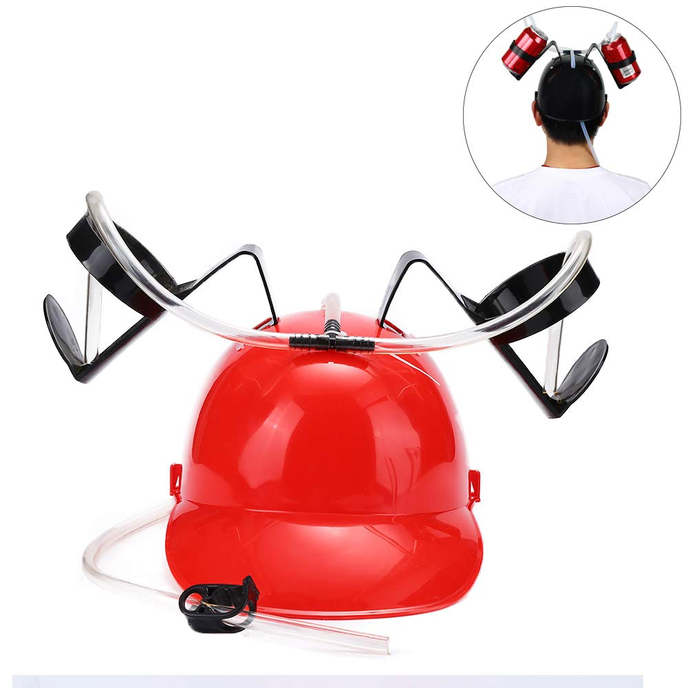 Black Drinking Hat Drinking Beverage Hard Hat Helmet Beer Soda Can Holder Cap with Straw Lazy for Holiday Birthday Festive Party