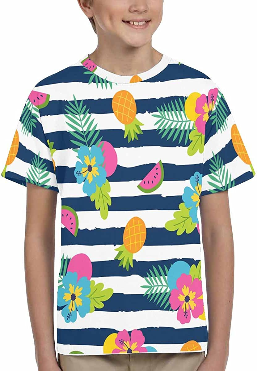 INTERESTPRINT Kids T-Shirts Colorful Summer with Hibiscus and Fruits on Navy Blue and White Stripes XS-XL