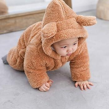 puseky Newborn Baby Cartoon Bear Hoodie Romper Winter Jumpsuit Thick Warm Snowsuit Outwear