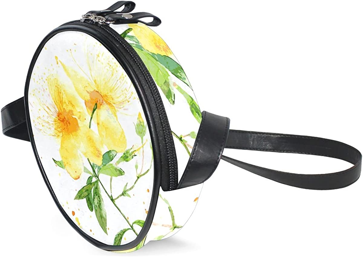 XinMing Watercolor Daisies Girl Round Crossbody Shoulder Bags Adjustable Top Handle Bags Satchel for Women