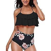 heekpek Conjunto de Bikini Mujer de Cintura Alta Traje de Baño de Dos Piezas Volantes Correas de Espagueti Bañador…