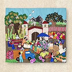 "Quilted wall hangings 17.7""H, Peru Arpilleria (Patchwork), 3d wall art, Embroidered appliques of fabric, Tapestrie Andean Folk Art"
