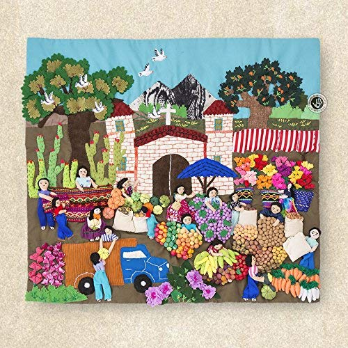 """Quilted wall hangings 17.7""""H, Peru Arpilleria (Patchwork), 3d wall art, Embroidered appliques of fabric, Tapestrie Andean Folk Art"""