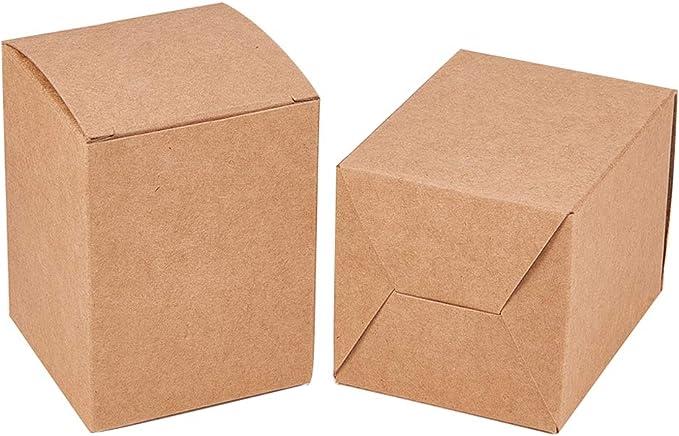 BENECREAT 60 Pack Caja de Papel Kraft Envase Marrón de Regalo Perfcto para Poner Dulce, Chocolate, Lápiz Labial, Perfume 6x6x8cm: Amazon.es: Hogar