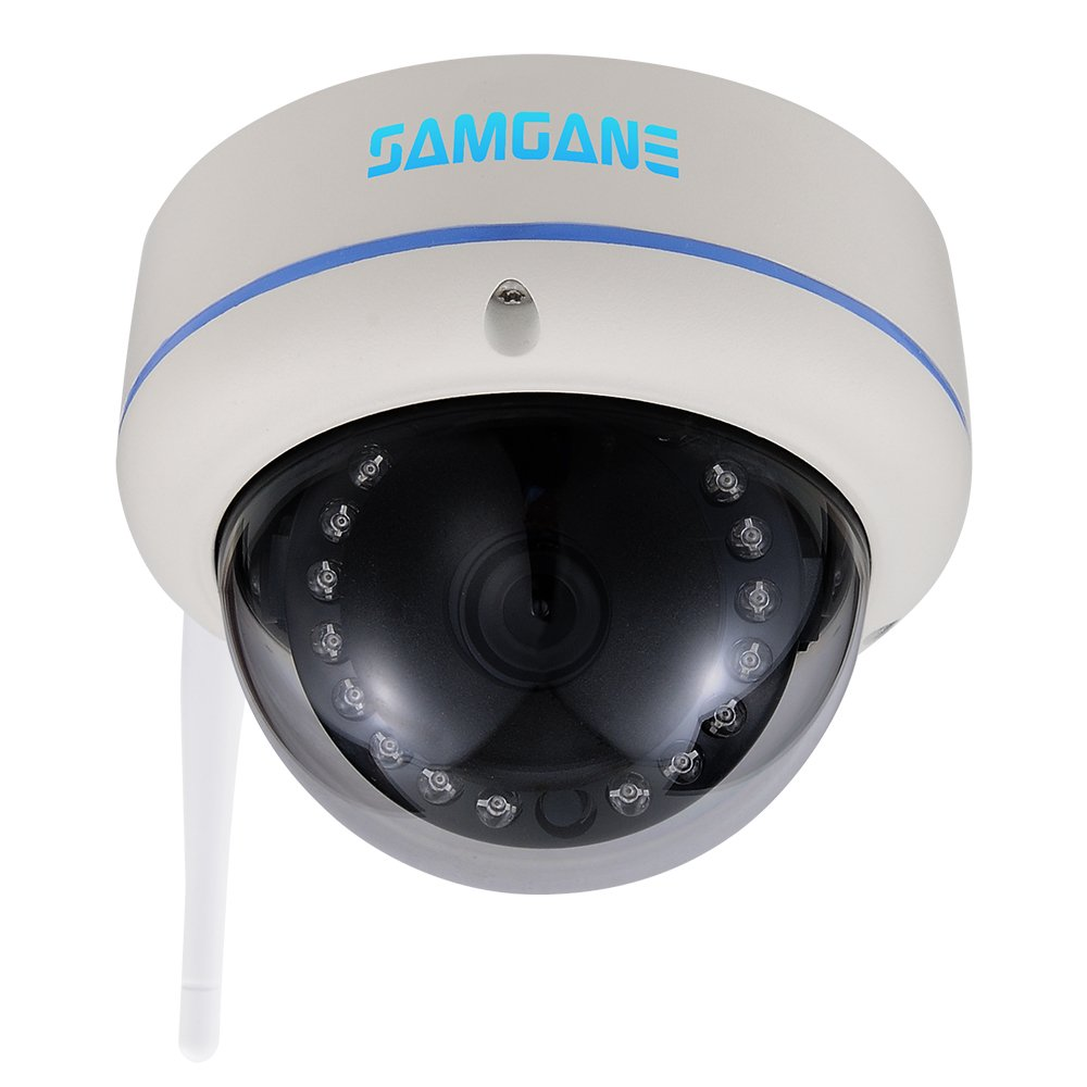 Samgane Security wifi Camera, 1080p HD Indoor Security Surveillance System,POE(Power Over Ethernet),P2P IP Camera,IR Night Vision SD-47W(White)