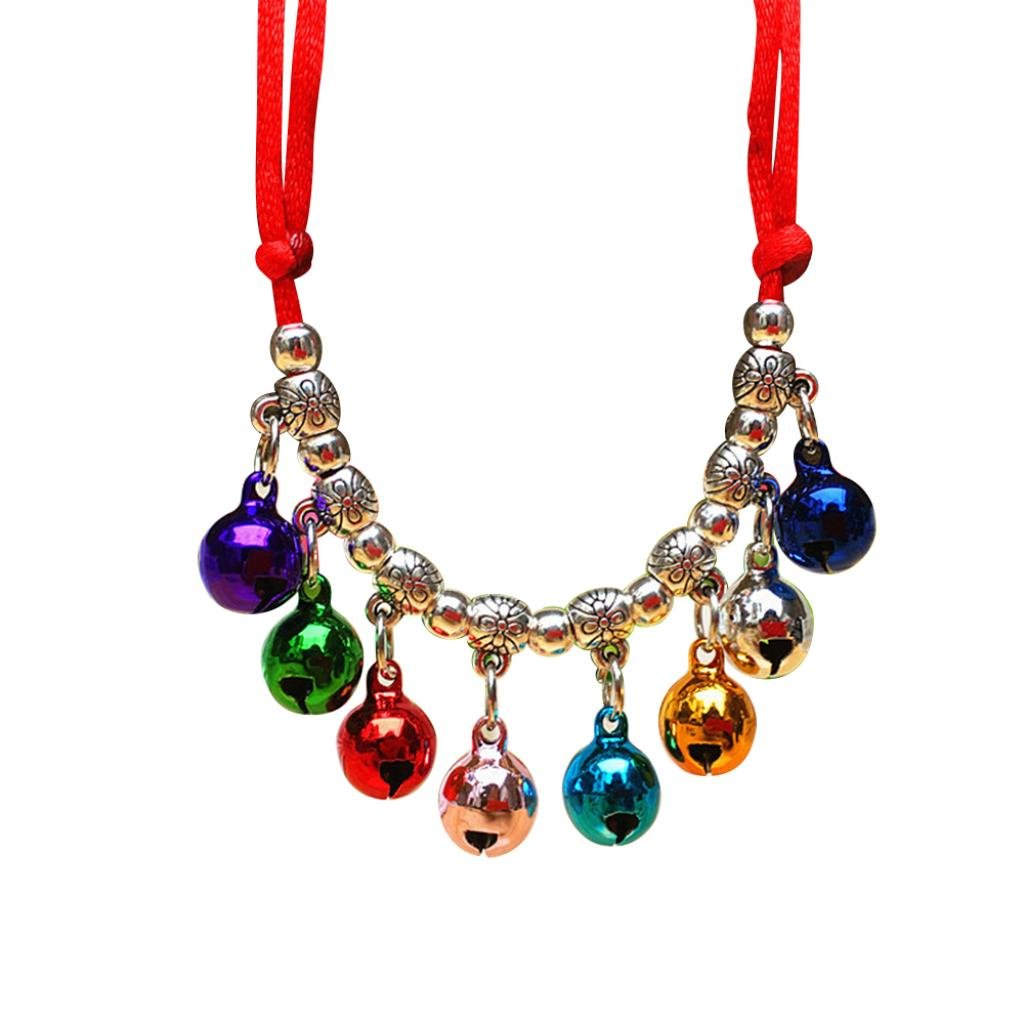 Braceus Bright Color Pet Dog Cat Puppy Collar Bells Charm Pendant Necklace Gift size XS (Multicolor)
