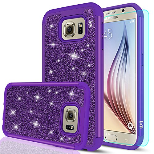 Galaxy S6 Glitter Case with HD Screen Protector,LeYi Bling Cute Girls Women Design [PC Silicone Leather] Dual Layer Heavy Duty Protective Phone Case for Samsung Galaxy S6 TP Purple