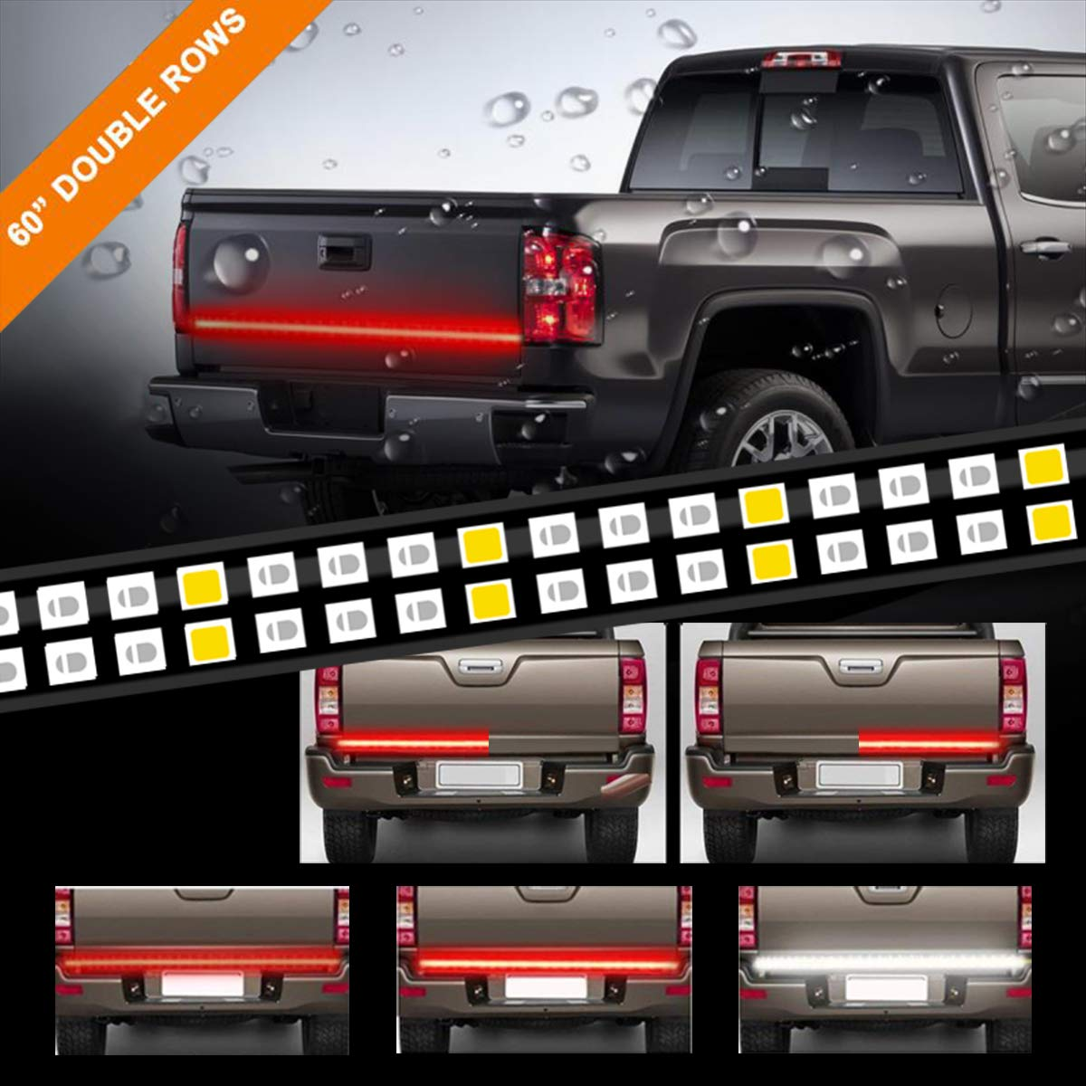 LPENG 60'' double Rows LED Truck Tailgate Light Bar Strip Red/White Reverse Brake Stop Turn Signal Parking Running  Weatherproof No-Drill Installation Universal truck car SUV LEE CO. LTD