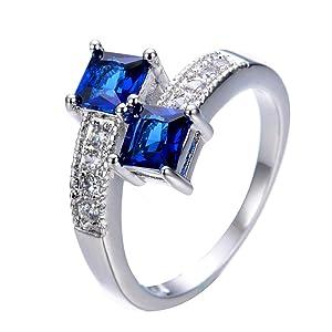 T&T ring Blue Sapphire Rings Silver Filled Wedding Engagement Rings For Women & Men Bridal Rings (9)