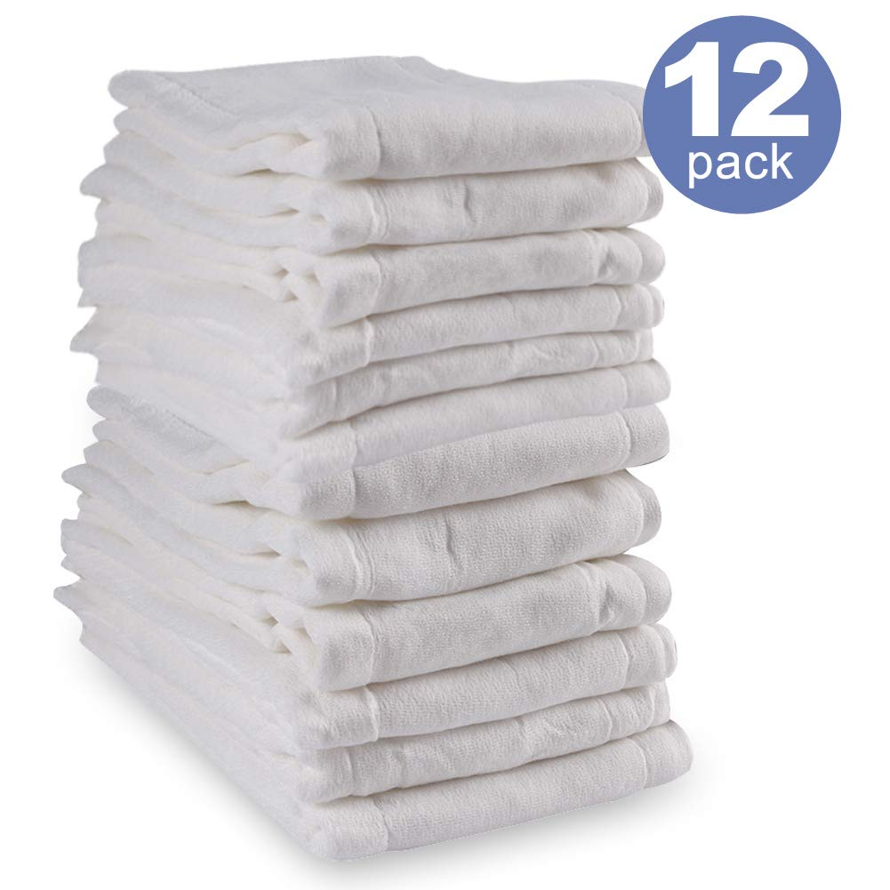 Mifidy Baby Cloth Diaper,Prefold Cotton 3-Ply Absorbent Diapers,White 12 Count by Mifidy