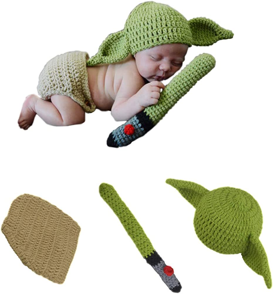 TIMSOPHIA Newborn Infant Baby Photography Prop Crochet Knit Hat Diaper Costume Set Handmade Cap Outfits Hat for Baby Shower