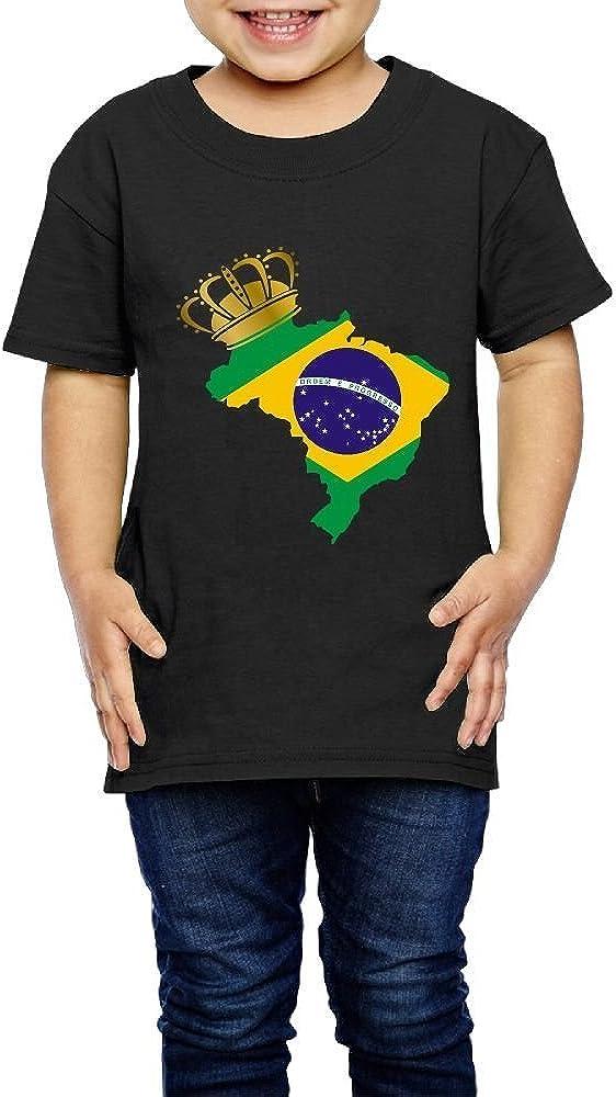 Kcloer24 Brazil Flag Pride Kids Personality T-Shirt Short Sleeve Tee 2-6 Years Old