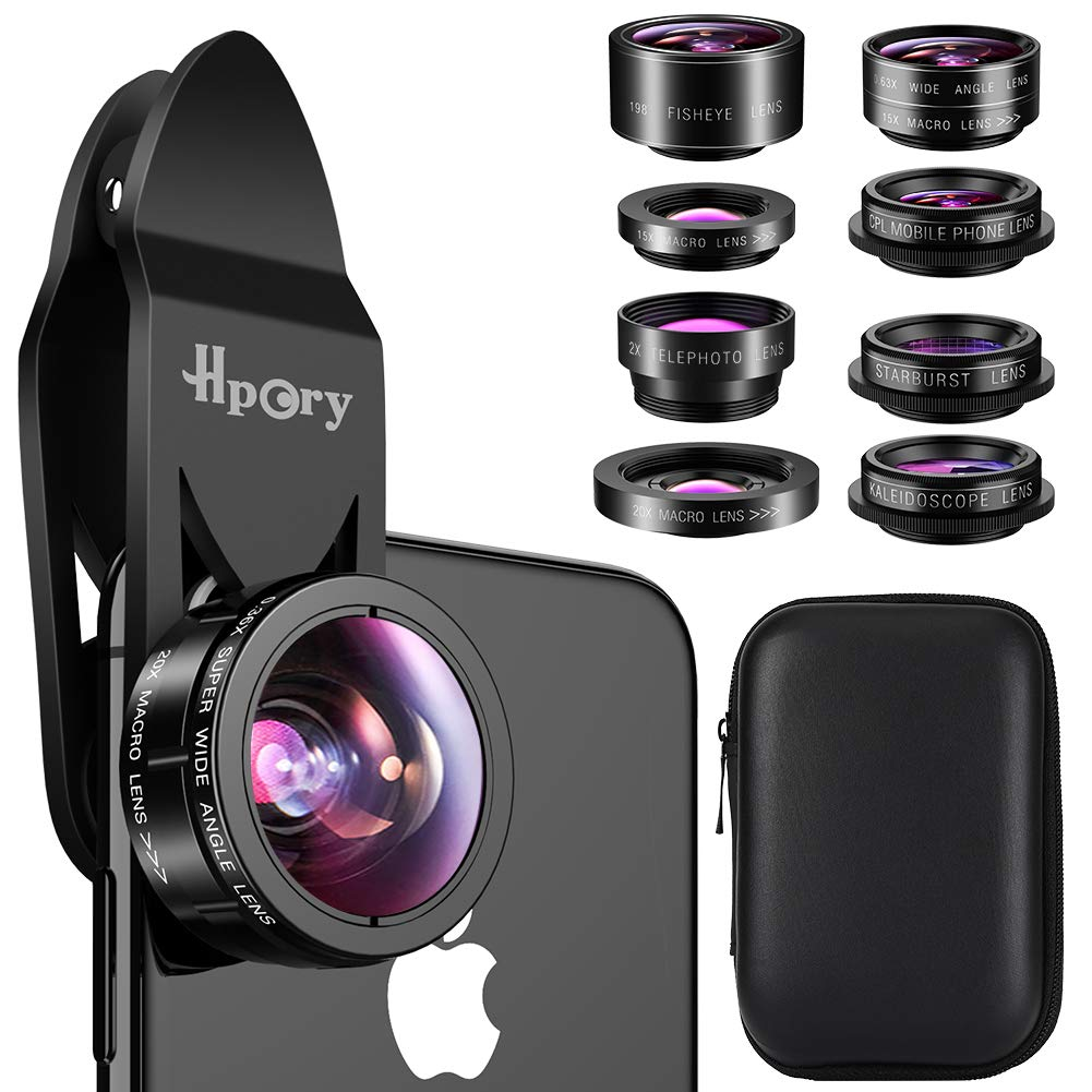 Hpory Phone Lens Kit 9 in 1, Universal Cell Phone Camera Lens for iPhone X/8/7/6/plus & Most Smartphone 0.63X 0.36X Super Wide Lens 15X 20X Macro Lens 198° Fisheye CPL Kaleidoscope Starburst 2X Lens Hproy