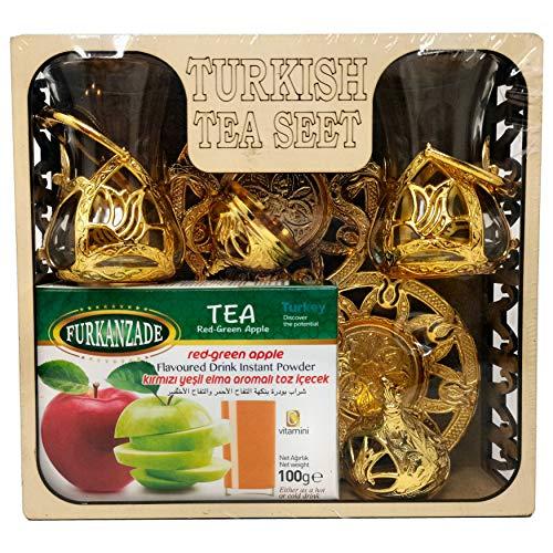 Turkish Juego de te en caja de madera con sabor a manzana Pomergranate, te negro, tazas tradicionales orientales otomanas platillos (tazas doradas, sabor instantaneo a manzana)