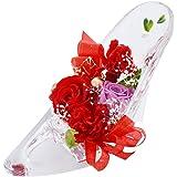 [florence du] プリザーブドフラワー バラ・カーネーションハイヒールアレンジメント レッド ガラスの靴 花 ギフト フラワーギフト 結婚 母の日 プレゼント 誕生日 シンデレラ プリンセス プロポーズ 祝い 記念日 母の日