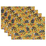 Floral Sugar Skull Black Cats in Mexican Style for Halloween Decor Heat-resistant Table Placemats Set of 6 Stain Resistant Table Mats Washable Eat Mat for Parties Everyday & Holidays Use