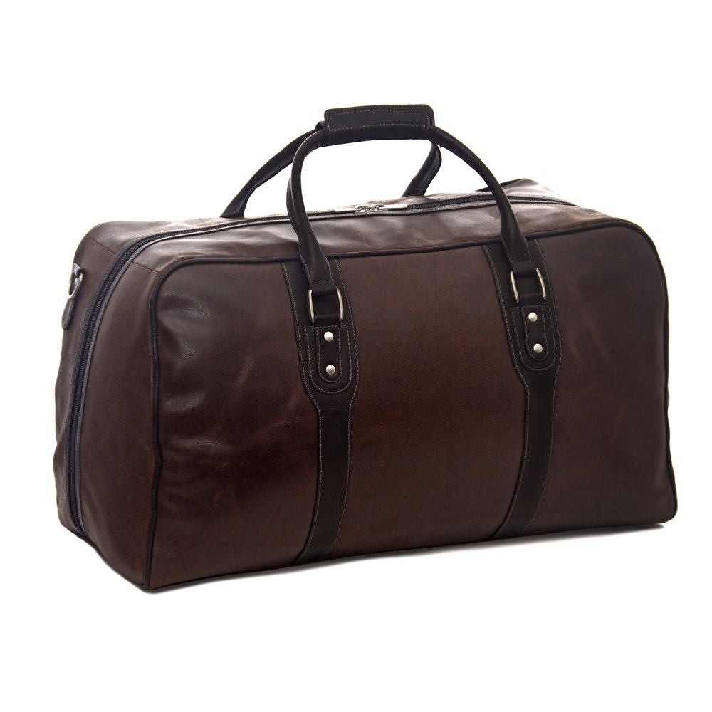 Piel Leather Classic Vintage Zip-Down Duffel, Vintage Brown, One Size by Piel Leather
