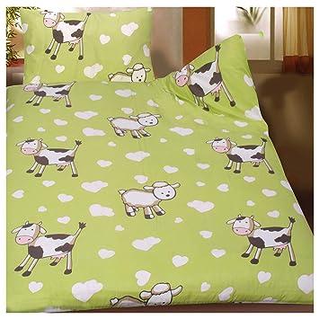 Baby Kinder Sommer Bettwäsche 100 X 135 40x60 Cm Motiv Kühe Und