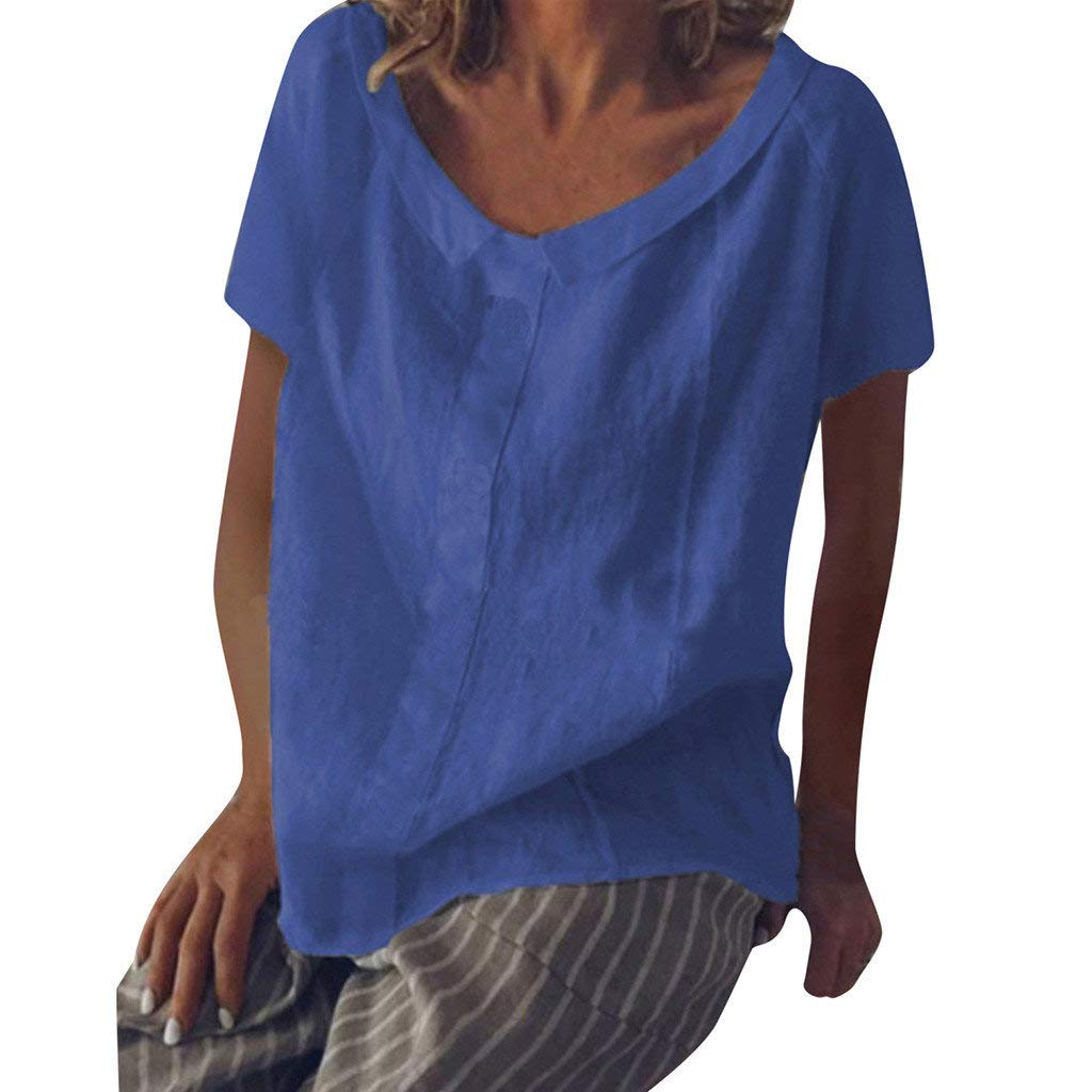 BaZhaHei Camicetta Donna Manica Corta Chic Camicia Donna Elegante Biancheria di Cotone Sciolto T-shirt Casual Bluse e Camicie Donna